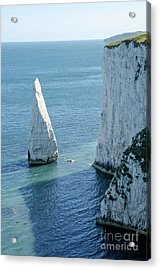 The Pinnacle Stack Of White Chalk On The Isle Of Purbeck Dorset England Uk Acrylic Print by Andy Smy
