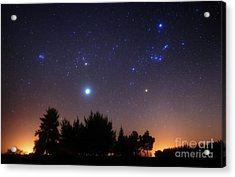 The Pleiades, Taurus And Orion Acrylic Print by Luis Argerich