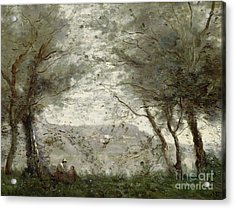 The Pond Acrylic Print by Jean Baptiste Corot