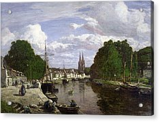 The Port At Quimper Acrylic Print by Eugene Louis Boudin