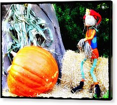 the Pumpkin and the Scarecrow Acrylic Print by Bill Cannon