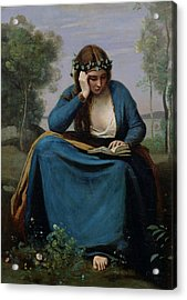 The Reader Crowned With Flowers Acrylic Print by Jean Baptiste Camille Corot