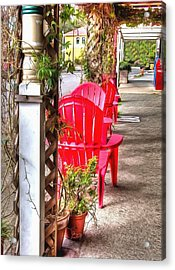 The Red Chairs In Old Town Acrylic Print by Thom Zehrfeld