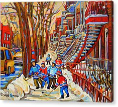 The Red Staircase Painting By Montreal Streetscene Artist Carole Spandau Acrylic Print by Carole Spandau
