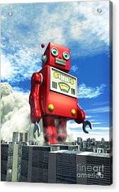 The Red Tin Robot And The City Acrylic Print by Luca Oleastri