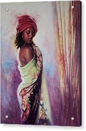 The Red Turban Acrylic Print by Colin Bootman
