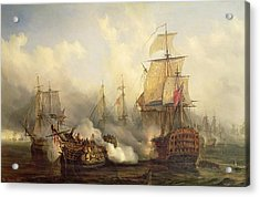 The Redoutable At Trafalgar Acrylic Print by Auguste Etienne Francois Mayer