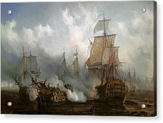 The Redoutable In The Battle Of Trafalgar, October 21, 1805 Acrylic Print by Auguste Etienne Francois Mayer