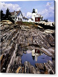 The Reflection At Pemaquid Acrylic Print by Skip Willits