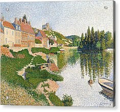 The River Bank Acrylic Print by Paul Signac