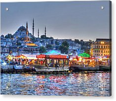 The Riverboats Of Istanbul Acrylic Print by Michael Garyet