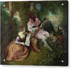 The Scale Of Love Acrylic Print by Jean-Antoine Watteau