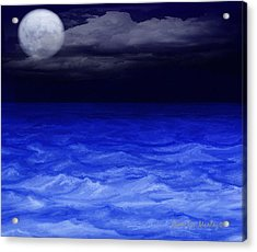 The Sea At Night Acrylic Print by Gina Lee Manley