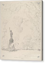 The Statue, New York Bay Acrylic Print by Joseph Pennell