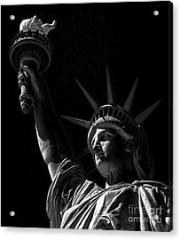 The Statue Of Liberty - Bw Acrylic Print by James Aiken