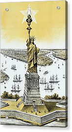 The Statue Of Liberty - Vintage Acrylic Print by War Is Hell Store