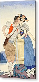 The Stolen Kiss Acrylic Print by Georges Barbier