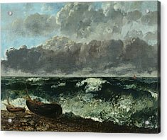The Stormy Sea Acrylic Print by Gustave Courbet
