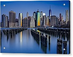 The Sun Rises At The New York City Skyline Acrylic Print by Susan Candelario
