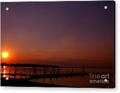 The Sun Sets Over The Water Acrylic Print by Clayton Bruster