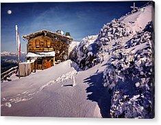 The Tavern On Untersberg Mountain Salzburg In Winter Acrylic Print by Carol Japp