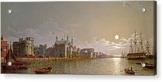 The Thames By Moonlight With Traitors' Gate And The Tower Of London Acrylic Print by Henry Pether