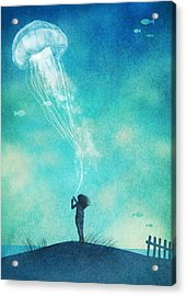 The Thing About Jellyfish Acrylic Print by Eric Fan