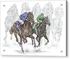 The Thunder Of Hooves - Horse Racing Print Color Acrylic Print by Kelli Swan