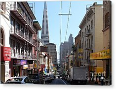 The Transamerica Pyramid Through Chinatown San Francisco Acrylic Print by Wingsdomain Art and Photography