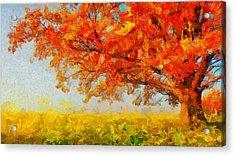 The Tree Of Beautiful Silence - Painting  Acrylic Print by Sir Josef Social Critic - ART