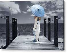 The Turquoise Parasol Acrylic Print by Amanda And Christopher Elwell