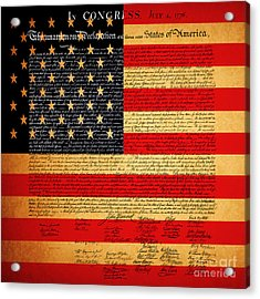 The United States Declaration Of Independence - American Flag - Square Acrylic Print by Wingsdomain Art and Photography