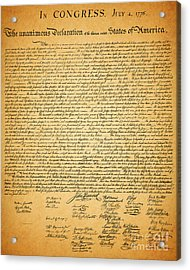 The United States Declaration Of Independence Acrylic Print by Wingsdomain Art and Photography