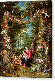 The Virgin And Child With The Infant Saint John The Baptist, Saint Anne And Angels, Surrounded By A  Acrylic Print by Brueghel and Balen