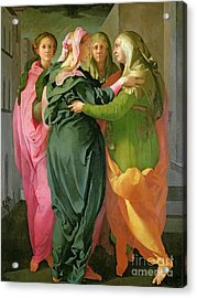 The Visitation Acrylic Print by Jacopo Pontormo