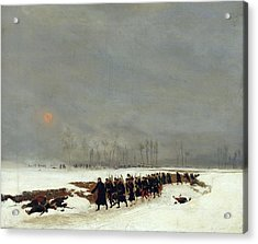 The War Of 1870 An Infantry Column On Their Way To A Raid Acrylic Print by Jean-Baptiste Edouard Detaille