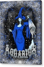 Acrylic Print featuring the drawing The Water Bearer - Aquarius Spirit by Raphael Lopez