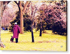 The Woman And Her Dog Acrylic Print by Edward Kreis