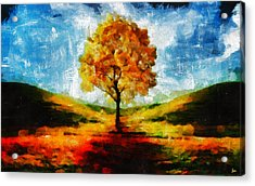 The Yellow Tree - A Nest For Goddess And God Acrylic Print by Sir Josef Social Critic - ART