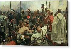 The Zaporozhye Cossacks Writing A Letter To The Turkish Sultan Acrylic Print by Ilya Efimovich Repin