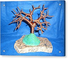 Thick 24 Gauge Copper Wire Tree On Brown And Black Marble Or Granite Slab Acrylic Print by Serendipity Pastiche