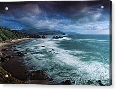 This Is Oregon State No.16 - Cannon Beach Waves Acrylic Print by Paul W Sharpe Aka Wizard of Wonders