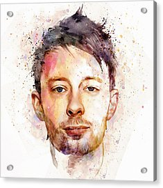 Thom Yorke Watercolor Acrylic Print by Marian Voicu