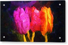 Three Beauties In Spring - Forever Young - Painting Acrylic Print by Sir Josef Social Critic - ART