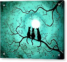 Three Black Cats Under A Full Moon Acrylic Print by Laura Iverson