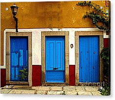 Three Blue Doors 1 Acrylic Print by Mexicolors Art Photography