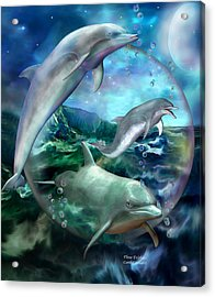 Three Dolphins Acrylic Print by Carol Cavalaris