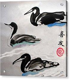 Three Ducks Acrylic Print by Lisa Baack