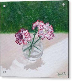 Three Flowers  Acrylic Print by Rebecca Giles