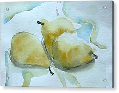 Three Gold Pears Acrylic Print by Mindy Newman